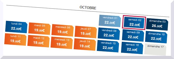 calendrier des prix