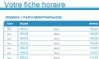 Fiche HORAIRE SNCF modifiée en décembre 2011