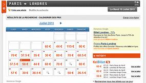Le calendrier des prix de KelBillet pour trouver le billet au tarif le plus avantageux sur un mois donné