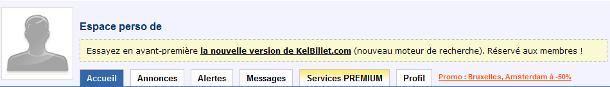 Le lien pour se rendre à la nouvelle version de KelBillet