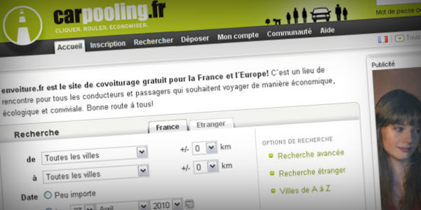 Carpooling, site de covoiturage