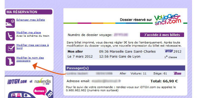 Modification d'un nom de passager pour un billet iDTGV