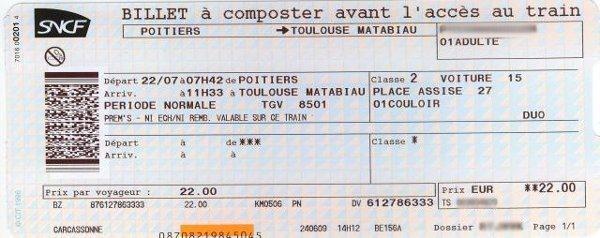 Billet cartonné classique SNCF cessible