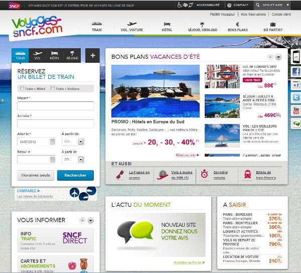 Nouveau site de Voyages SNCF