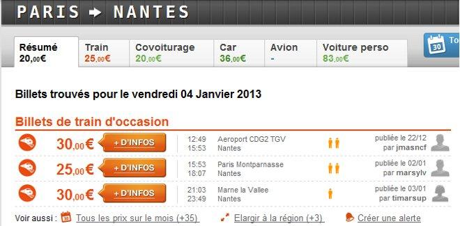 Affichage des gares à proximité de Paris desservant Nantes