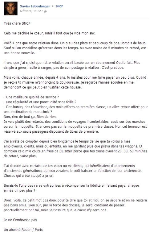 Lettre de rupture de Xavier Leboulanger à la SNCF