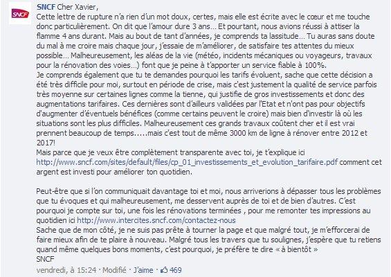 Réponse de la SNCF à la lettre de rupture