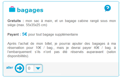 Option Bagage supplémentaire