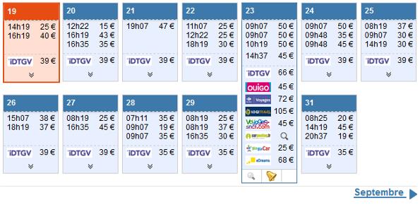 Exemple d'offres disponibles pour une date donnée fin juillet
