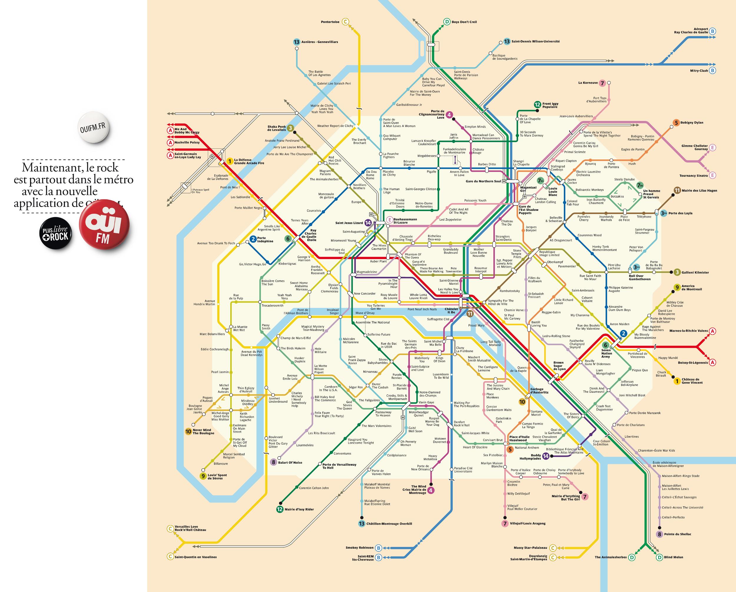 Le plan du métro de Paris en version rock | KelBillet