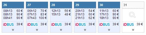 Exemple de résultats sur le calendrier des prix pour la fin du mois de juillet