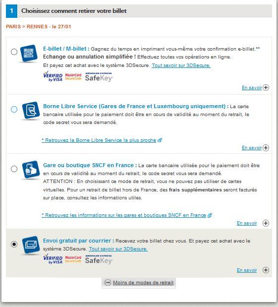Tous les modes de retraits proposés par Voyages-SNCF