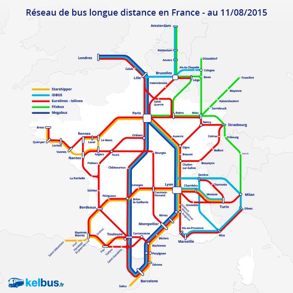 Carte réseau de bus longue distance en France