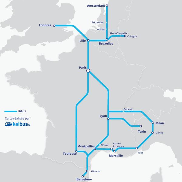 Carte du réseau iDBUS avant l'ouverture des nouvelles lignes OUIBUS