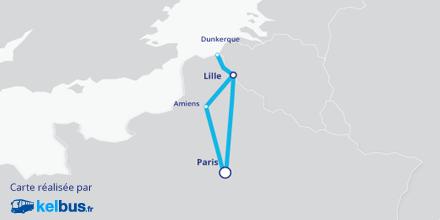 Carte des trajets opérés par OUIBUS depuis le Nord