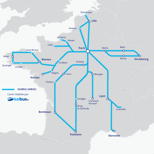 Trajets opérés par OUIBUS depuis Paris