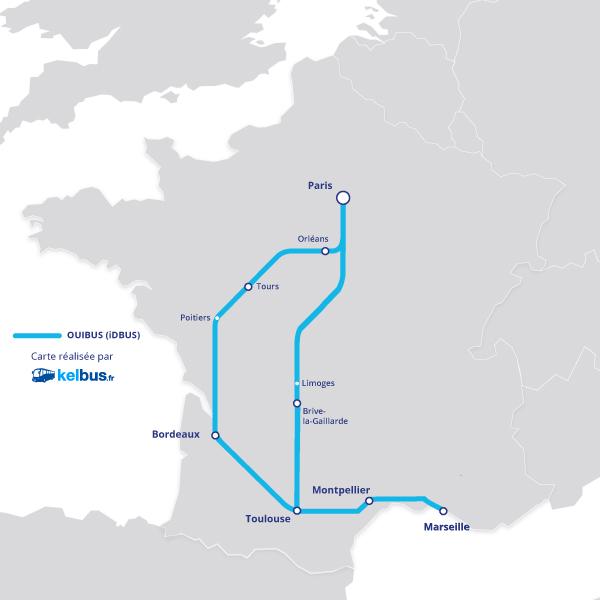 Nouvelles lignes desservies depuis le Sud-Ouest par OUIBUS