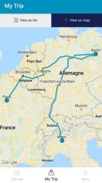 Détails d'un voyage Interrail au format carte