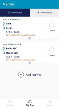 Détails d'un voyage Interrail mode liste