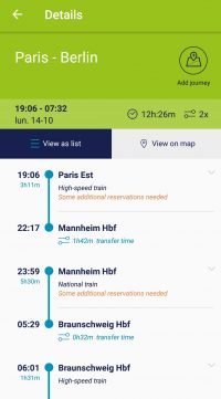 Détails d'un trajet Rail Planner