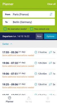 Résultats de recherche Rail Planner